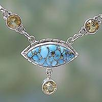 Citrine pendant necklace, 'Protective Eye in Light Blue' - Composite Turquoise and Citrine Pendant Necklace India