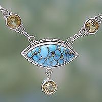 Citrine pendant necklace,
