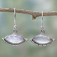 Rainbow moonstone dangle earrings, 'Protective Eyes' - Sterling Silver Rainbow Moonstone Dangle Earrings from India
