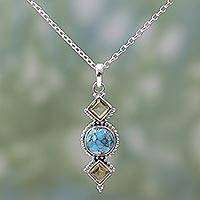 Citrine pendant necklace, 'Captivating Sky' - Citrine and Composite Turquoise Pendant Necklace from India
