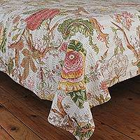 Cotton bedspread, 'Lavish Garden' (twin) - 100% Cotton Garden Patterned Bedspread Twin Size from India