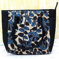 Batik cotton tote handbag, 'Teal Spring' - 100% Cotton Batik Tote Handbag in Teal from India