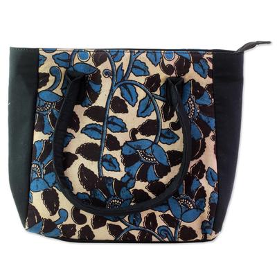 100% Cotton Batik Tote Handbag in Teal from India