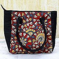 Batik cotton tote handbag, 'Floral Thicket in Crimson' - 100% Cotton Batik Tote Handbag in Crimson from India