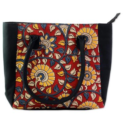 100% Cotton Batik Tote Handbag in Crimson from India
