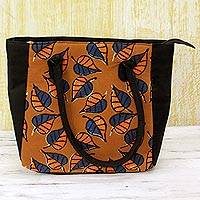 Batik cotton tote handbag, 'Ginger Leaves' - 100% Cotton Batik Tote Handbag in Ginger from India