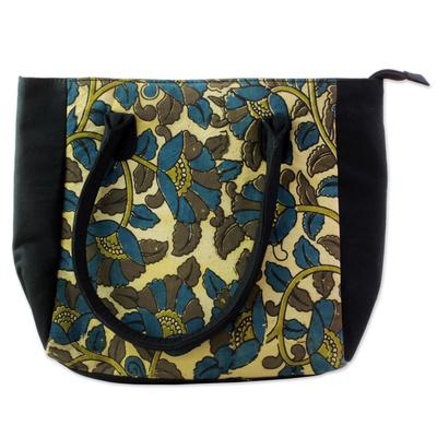 100% Cotton Batik Tote Handbag in Teal and Olive India