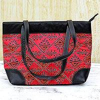 Leather accented silk shoulder bag, 'Eastern Sky' - Kantha Embroidered Silk Shoulder Bag in Strawberry India