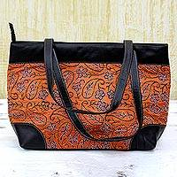 Leather accented silk shoulder bag, 'Majestic Pumpkin' - Kantha Embroidered Silk Shoulder Bag in Pumpkin from India