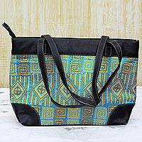 Leather accented silk shoulder bag, 'Alluring Maze' - Kantha Embroidered Silk Shoulder Bag Caribbean Blue India