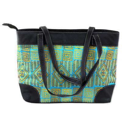 Novica Leather accented silk shoulder bag, Alluring Maze