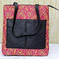 Leather accent silk shoulder bag, 'Deep Rose Festitivy' - Kantha Embroidered Silk Shoulder Bag in Deep Rose from India