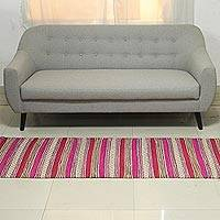 Recycled cotton runner rug, 'Bright Spring' (2.5x6.5)