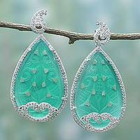 Onyx drop earrings, 'Paisley Glamour' - Handmade Indian Green Onyx and Cubic Zirconia Drop Earrings