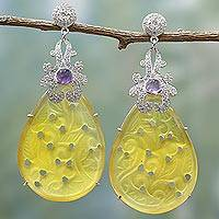 Agate and amethyst dangle earrings, 'Dazzling Glamour' - Handmade Indian Yellow Agate and Amethyst Dangle Earrings