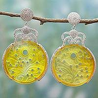 Agate dangle earrings, 'Sunny Radiance' - Handcrafted Yellow Agate and Cubic Zirconia Dangle Earrings