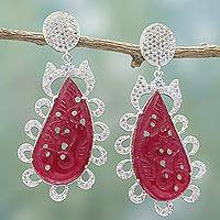 Jade dangle earrings, 'Red Splendor' - Handcrafted Red Jade and Cubic Zirconia Dangle Earrings