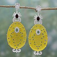 Agate and garnet dangle earrings, 'Royal Shimmer' - Yellow Agate and Garnet Dangle Earrings from India