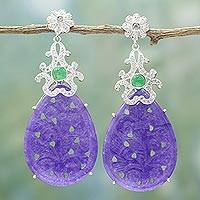 Agate dangle earrings, 'Glamorous Allure' - Handmade Purple and Green Agate Dangle Earrings from India