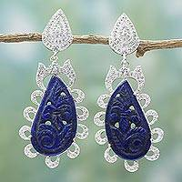 Lapis lazuli and cubic zirconia dangle earrings, 'Blue Splendor' - Handcrafted Silver and Lapis Dangle Earrings from India