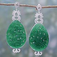 Agate dangle earrings, 'Glimmer of Green' - Handcrafted Green Agate Dangle Earrings from India