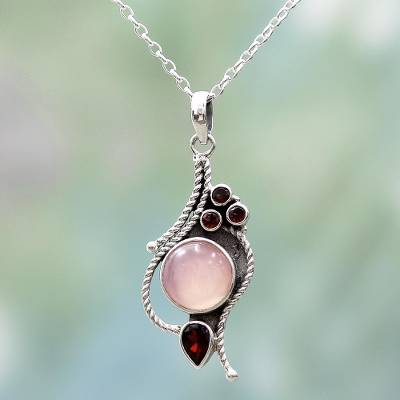 Hand Made Garnet Chalcedony Pendant Necklace from India