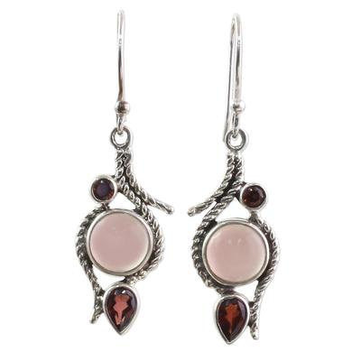 Hand Made Garnet Chalcedony Dangle Earrings from India