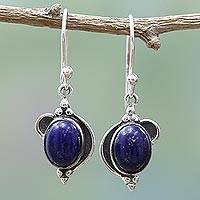 Lapis lazuli dangle earrings, 'Blue Ovals' - Hand Made Sterling Silver Lapis Lazuli Dangle Earrings India