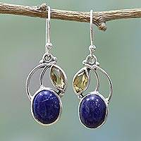 Citrine and lapis lazuli dangle earrings, 'Starry Beauties' - Hand Made Lapis Lazuli Citrine Dangle Earrings India