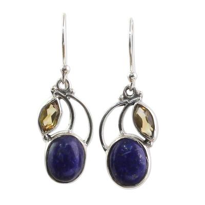 Hand Made Lapis Lazuli Citrine Dangle Earrings India