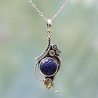 Citrine and lapis lazuli pendant necklace, 'Starry Bliss' - Hand Made Citrine Lapis Lazuli Pendant Necklace from India