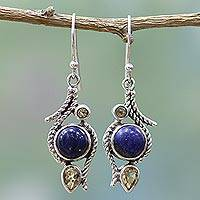 Citrine and lapis lazuli dangle earrings, 'Starry Bliss' - Lapis Lazuli Citrine Sterling Silver Dangle Earrings India