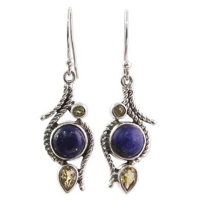 Lapis Lazuli Citrine Sterling Silver Dangle Earrings India