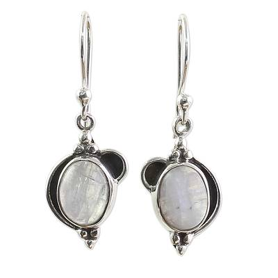 Sterling Silver Rainbow Moonstone Dangle Earrings from India