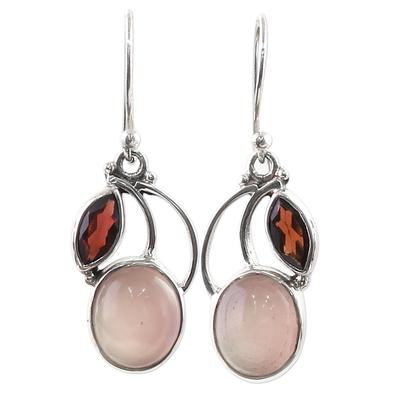 Garnet Chalcedony Sterling Silver Dangle Earrings India