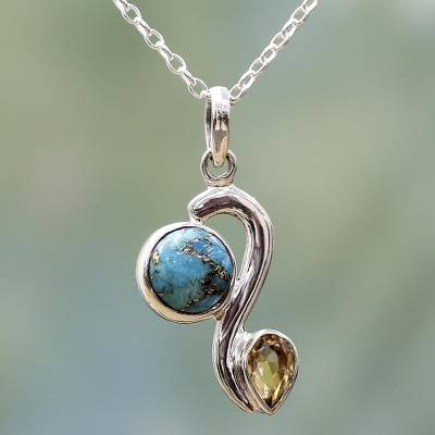 Citrine pendant necklace, 'Sparkling Planet' - Citrine Composite Turquoise Pendant Necklace from India