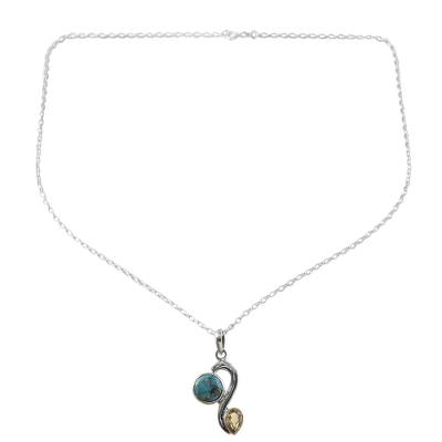 Citrine Composite Turquoise Pendant Necklace from India