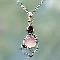 Garnet and chalcedony pendant necklace, 'Pink Crest' - Garnet Chalcedony Sterling Silver Pendant Necklace India