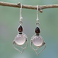 Garnet and chalcedony dangle earrings, 'Pink Crest' - Garnet and Chalcedony Dangle Earrings from India