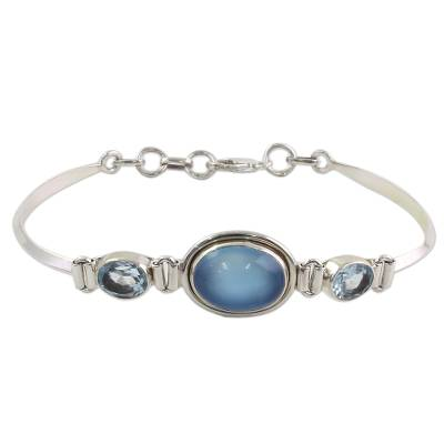 Sterling Silver Blue Topaz Chalcedony Pendant Bracelet India
