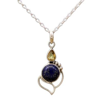 Citrine and Lapis Lazuli Pendant Necklace from India