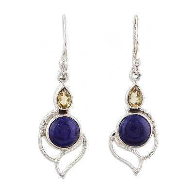 Citrine and Lapis Lazuli Dangle Earrings from India
