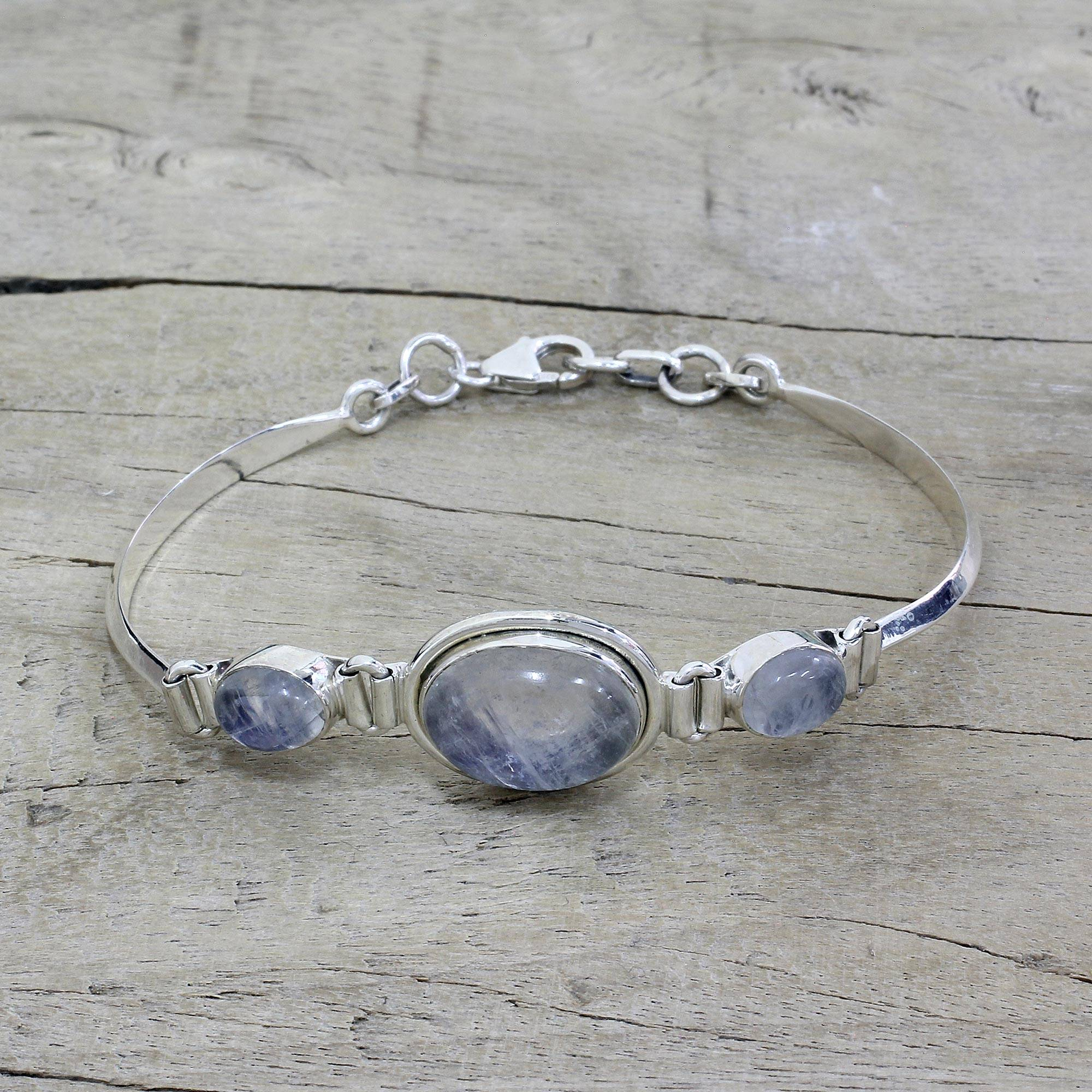 31fc7dbf1b21e Sterling Silver Rainbow Moonstone Pendant Bracelet, 'Icy Surface'
