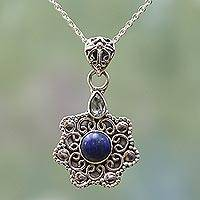 Blue topaz and lapis lazuli pendant necklace, 'Blue Eternity' - Silver Blue Topaz Lapis Lazul Pendant Necklace from India