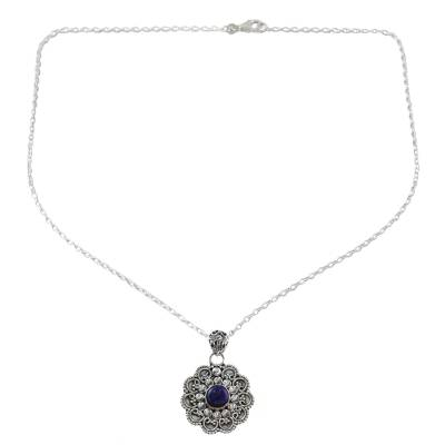 Sterling Silver Lapis Lazuli Pendant Necklace India