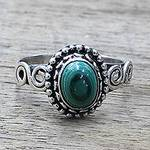 Artisan Designed Sterling Silver and Malachite Cocktail Ring, 'Hypnotic Forest'