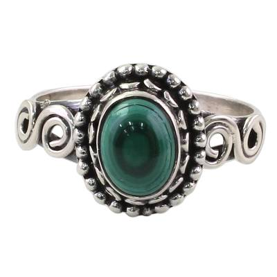 Artisan Designed Sterling Silver and Malachite Cocktail Ring