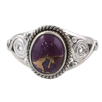Silver Purple Composite Turquoise Cocktail Ring India