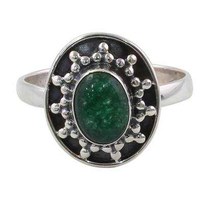 Sterling Silver Green Quartz Cocktail Ring from India