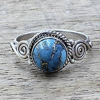Sterling silver cocktail ring, 'Blue Attunement' - Sterling Silver and Blue Composite Turquoise Cocktail Ring